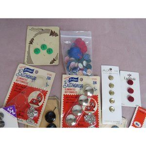 Lot of VTG Buttons on Cards NOS metal plastic